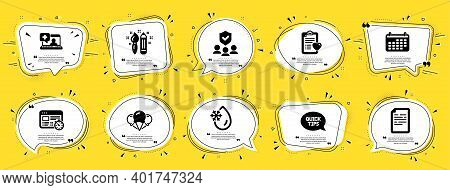 Business Icons Set. Speech Bubble Offer Banners. Yellow Coupon Badge. Included Icon As Freezing Wate
