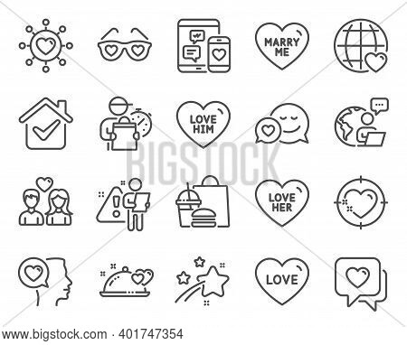 Love Icons Set. Included Icon As Love Him, Love, Social Media Signs. Romantic Talk, Heart, Dating Ne