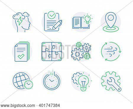 Science Icons Set. Included Icon As Time Zone, Time, Wind Energy Signs. Location, Handout, Idea Gear