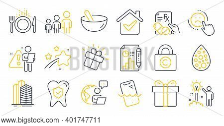 Set Of Business Icons, Such As Report Document, Dental Insurance, Food Symbols. Prescription Drugs,