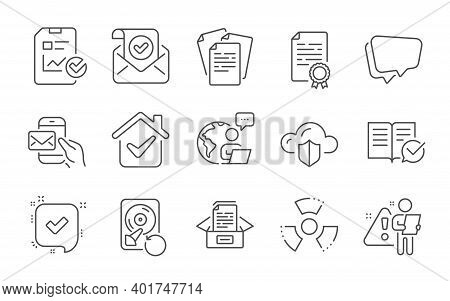 Certificate Diploma, Cloud Protection And Documents Box Line Icons Set. Confirmed Mail, Recovery Hdd