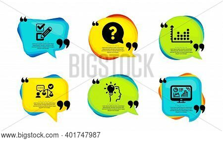 Dot Plot, Checkbox And Lawyer Icons Simple Set. Speech Bubble With Quotes. Idea, Question Mark And A