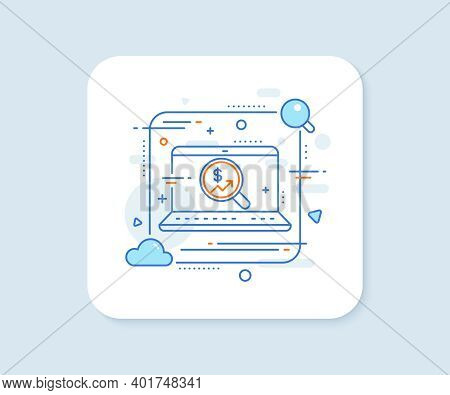 Business Audit Or Statistics Line Icon. Abstract Vector Button. Analytics With Charts Symbol. Search