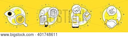 Snow Weather, Target Purpose And Medical Analyzes Line Icons Set. Licence, Cell Phone And Deal Vecto
