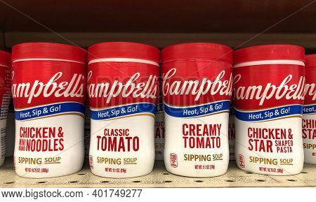 Alameda, Ca - Nov 30, 2020: Grocery Store Shelf With Containers Of Campbell's Chicken Noodle, Chicke