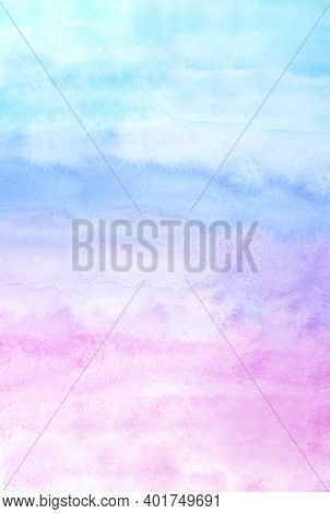 Colorful Watercolour Background, Watercolour Painting Soft Textured On Wet White Paper Background, A