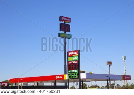Augusta, Ga Usa - 01 01 21: Gas Sign And Price At The Pilot Retail Convenience Store On Bel Air Road