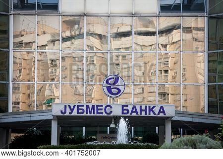 Belgrade, Serbia - August 21, 2018: Jubmes Banka Logo On Their Main Office. Jubmes Banka Was A Serbi