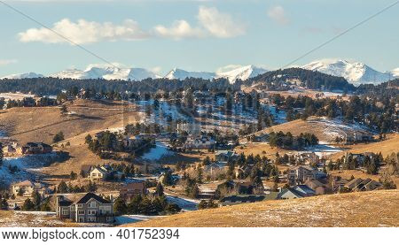 Colorado Living. Golden, Colorado - Denver Metro Area Residential Winter Panorama With The View Of A