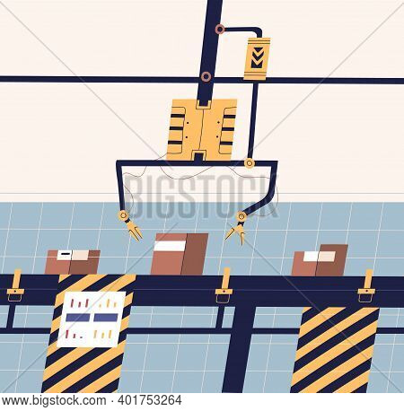 Modern Factory Industrial Production Line Vector Flat Illustration. Conveyor Belt With Electronic Ro