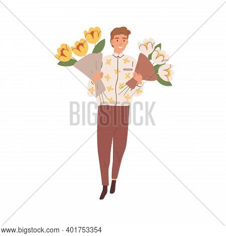 Portrait Of Young Man Holding Two Bouquets Of Blooming Cut Flowers Vector Flat Illustration. Happy F
