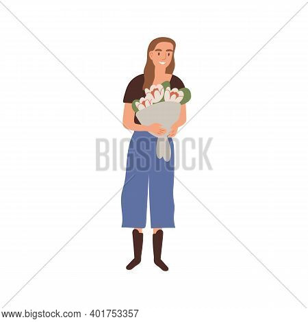 Portrait Of Happy Woman Holding Bouquet Of Beautiful Natural Fresh Flowers Vector Flat Illustration.