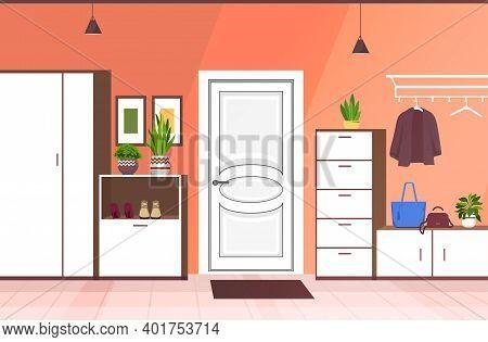 Modern Hallway Interior Empty No People House Corridor With Furniture Horizontal Vector Illustration