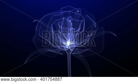 Beautiful Rose Flower With Glowing Light And Shiny Particles , 3d Concept Art, Closeup View, 3d Rend