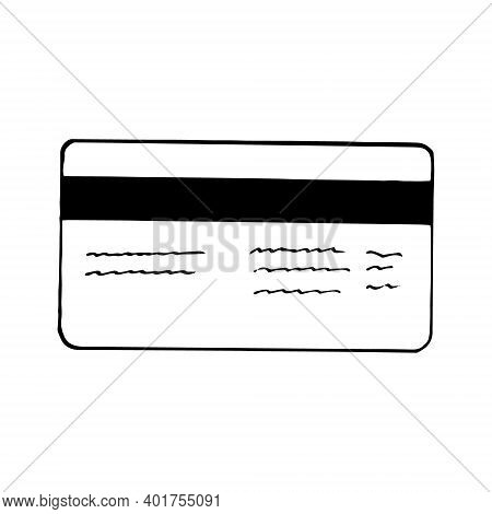 Plastic Card Icon. Sketch Hand Drawn Doodle Style. Vector Minimalism Monochrome. Money, Finance, Cre