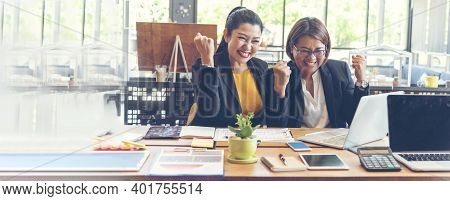 Banner Happy Success Business Woman Partner Meeting Working Together In Company Office. Panoramic Pi