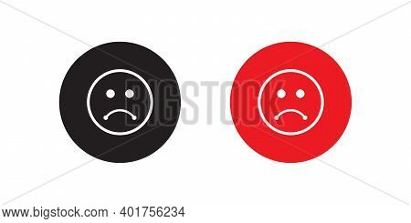 Disappointed Expression Icon Vector In Flat Style. Sad Face Symbol Illustration