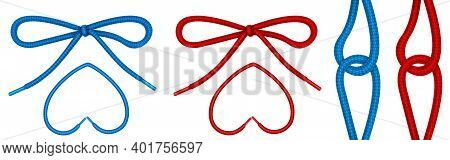 Shoelaces Tied In Knot And Bow, Shoe Ropes In Heart Shape And Hinge. Vector Realistic Set Of Footwea