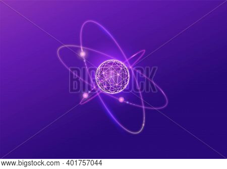 Quantum Low Poly Wireframe Icon, 3d Vector Physics Symbol, Neon Glowing Polygon Illustration, Good F