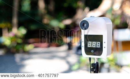 How To Prevent The Covid-19 Virus, Automatic Infrared Thermometer At The Attraction Used To Check Th
