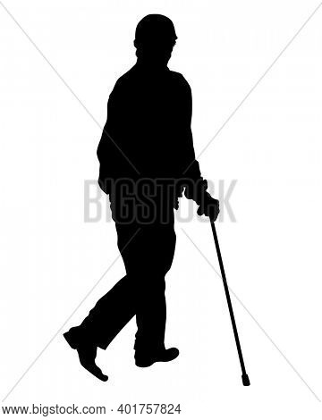 Old man on crutches is walking down the street. Isolated silhouettes on white background