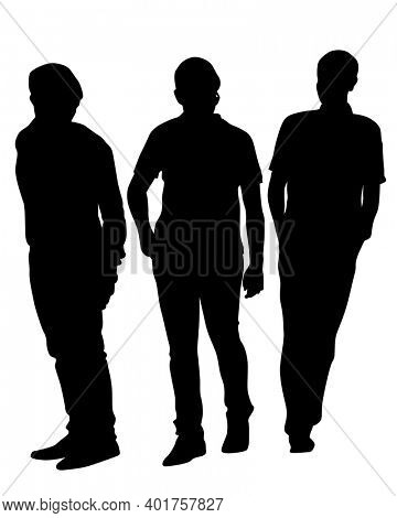Crowds young people on street. Isolated silhouette on a white background