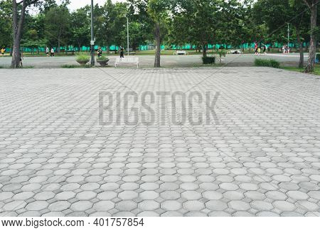 Truncated Square Tiling Pattern Of Paver Brick Floor Or Block Paving For Road, Street, Pavement, Sid