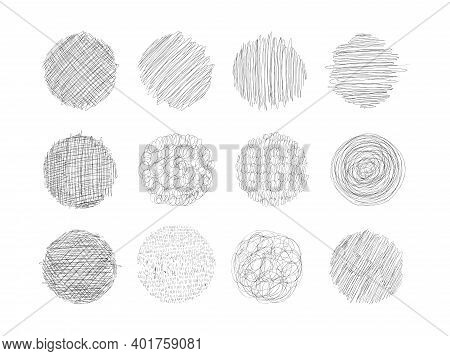 Set Of Grunge Textures With Pencil, Pen. Circles With Different Shading, Engraving. A Set Of Round S