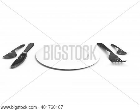 Fork Knife Spoon And Plate Placed In White Background 3d Render