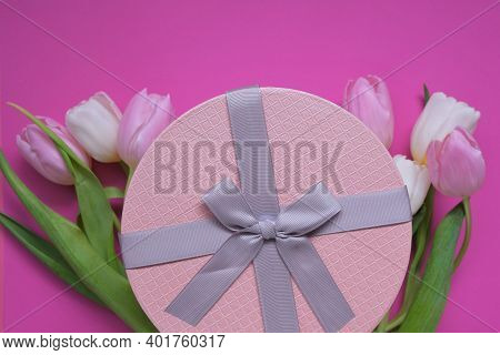 Floral Card Blank.pink And White Tulips Flowers, Pink Box With Bow On Fuchsia Background.copy Space.