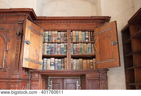 Prague, Czech Republic On July 8, 2020: Very Old Books In St. Vitus Cathedral (prague Castle) In Pra