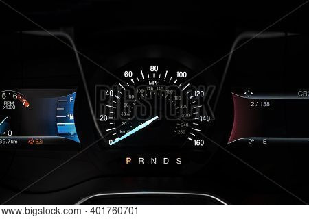 Electronic Dashboard Of A Modern Car Close-up.
