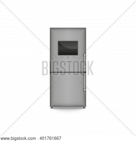 Two-compartment Closed Refrigerator In Metallic Color With A Large Monitor Concept, Realistic 3d Vec