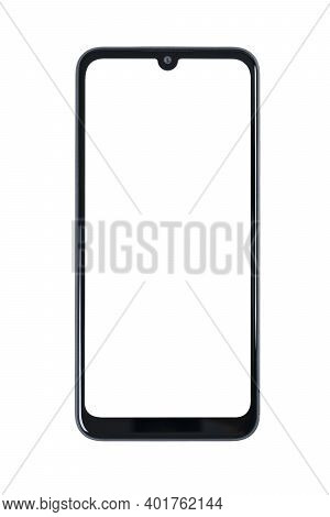 Front View Of A New Modern Frameless Smartphone Mock-up With Blank White Screen Isolated On A Transp