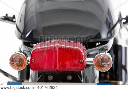 Bordeaux , Aquitaine  France - 12 28 2020 : Lucas Red Rear Back Light Of Vintage Retro Motorcycle Ta