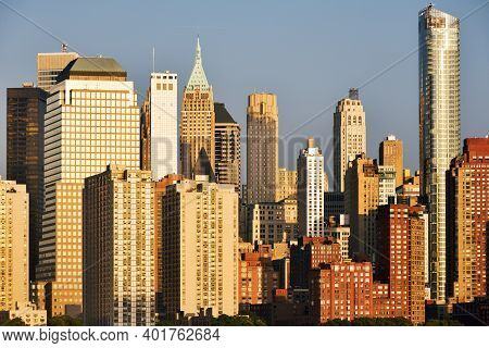 New York City, Usa - August 23: Manhattan Skyline At Sunset On August 23, 2017 In New York City, Ny.