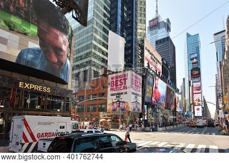 New York City - August 24: Street In Manhattan On August 24, 2017 In New York City, Ny. Manhattan Is