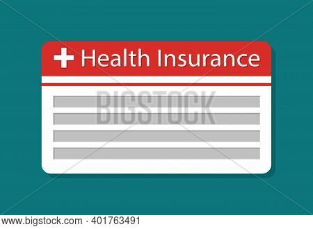 Card Of Health Insurance. Icon Of Medical Insurance. Symbol Of Healthcare With Payment. Assurance Fo