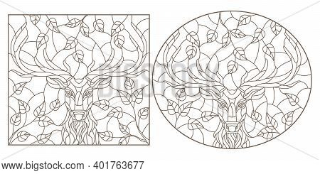 Set Of Contour Illustrations In Stained Glass Style With Portraits Of Deers, Dark Contours On A Whit