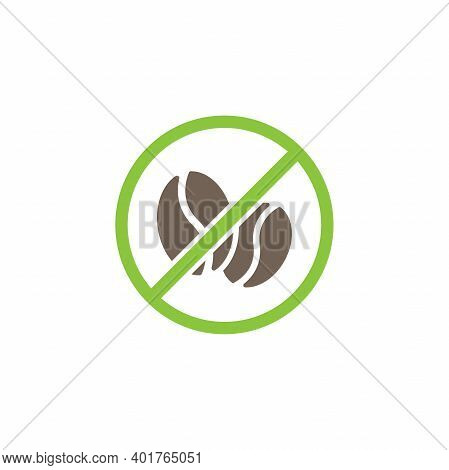 Caffeine Free Seal Or Stamp. Coffee Beans In Green Crossed Circle Icon. Flat Vector Illustration Iso