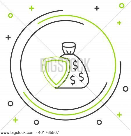 Line Shield And Money Bag With Dollar Symbol Icon Isolated On White Background. Security Shield Prot