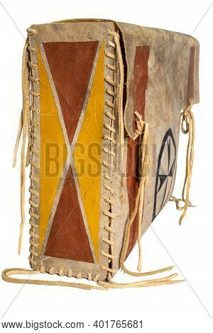 Indian Painted Rawhide Box With Leather Cords Isolated On White