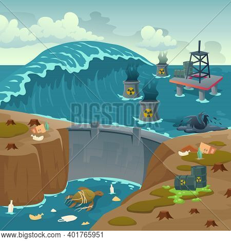 Ecology Pollution, Oil Derrick In Polluted Ocean And Barrels With Toxic Liquid Floating On Dirty Sea