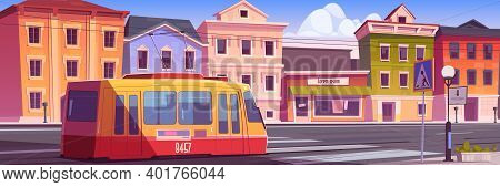 Tram Riding On Retro City Street. Trolley Car On Vintage Cityscape Background, Road With Rails, Anti