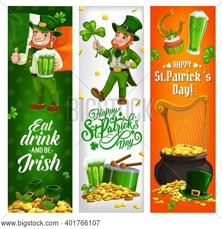 St Patrick Day Irish Holiday Vector Banners With Leprechaun And Ireland Flag. Saint Patrick Day Gree