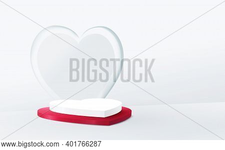 3d White And Red Heart Shape Podium Display. Valentines Banner For Wedding Greeting Card. Space For