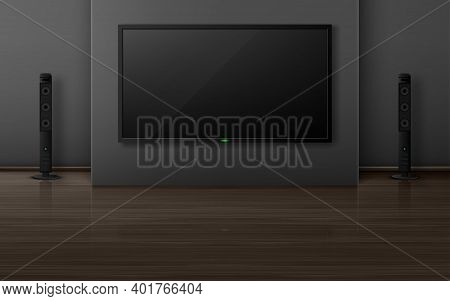 Tv Set With Dynamics In Living Room Interior, Home Theater System With Television On Wall, Empty Hou