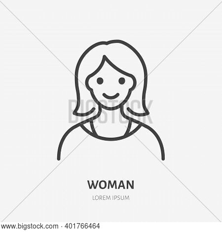 Woman Flat Line Icon. Vector Outline Illustration Of Lady Avatar. Black Color Thin Linear Sign For D