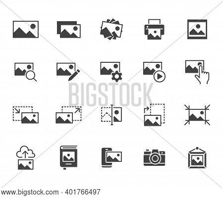 Photo Flat Icon Set. Image Gallery, Picture Frame, Printer, File Resize, Camera Black Minimal Silhou