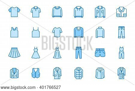 Clothing Line Icon Set. Dress, Polo T-shirt, Jeans, Winter Coat, Jacket Pants, Skirt Minimal Vector